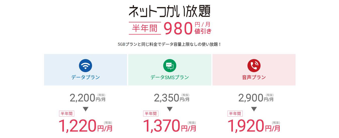 ネットつかい放題が半年間1220円〜DTI SIM秋のキャンペーン