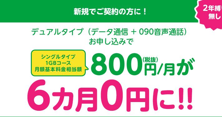mineo通話SIM申し込みでデータ通信量6ヶ月0円